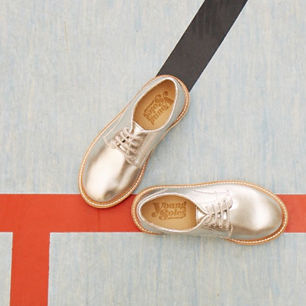 Reggie Derby Shoe Silver Leather