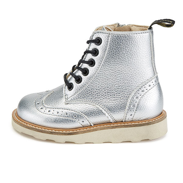 Sidney Vegan Brogue Boot Silver Synthetic Leather