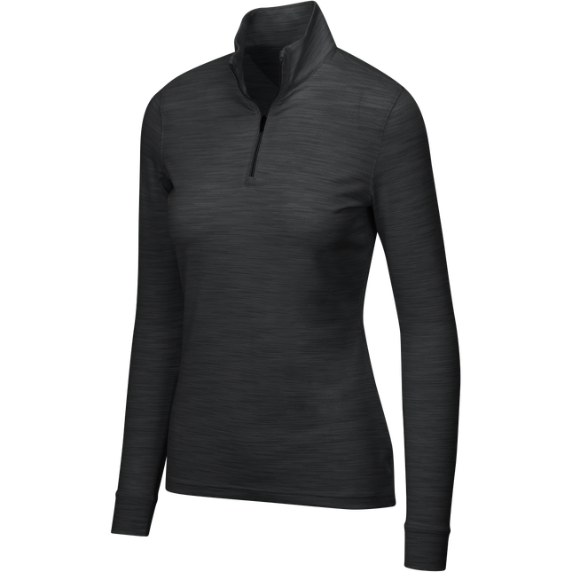 Heathered Mesh 1/4-Zip Stretch Mock