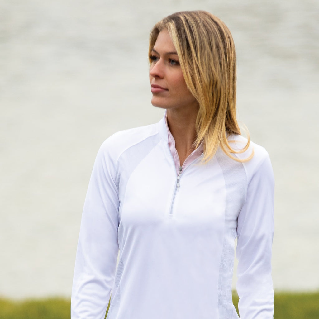 Long Sleeve Tonal Placement Print Polo