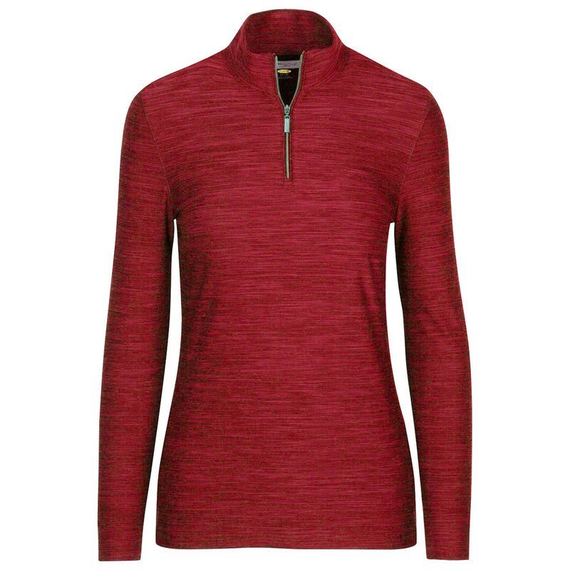 1/4 Zip Heathered Pullover British Red Heather