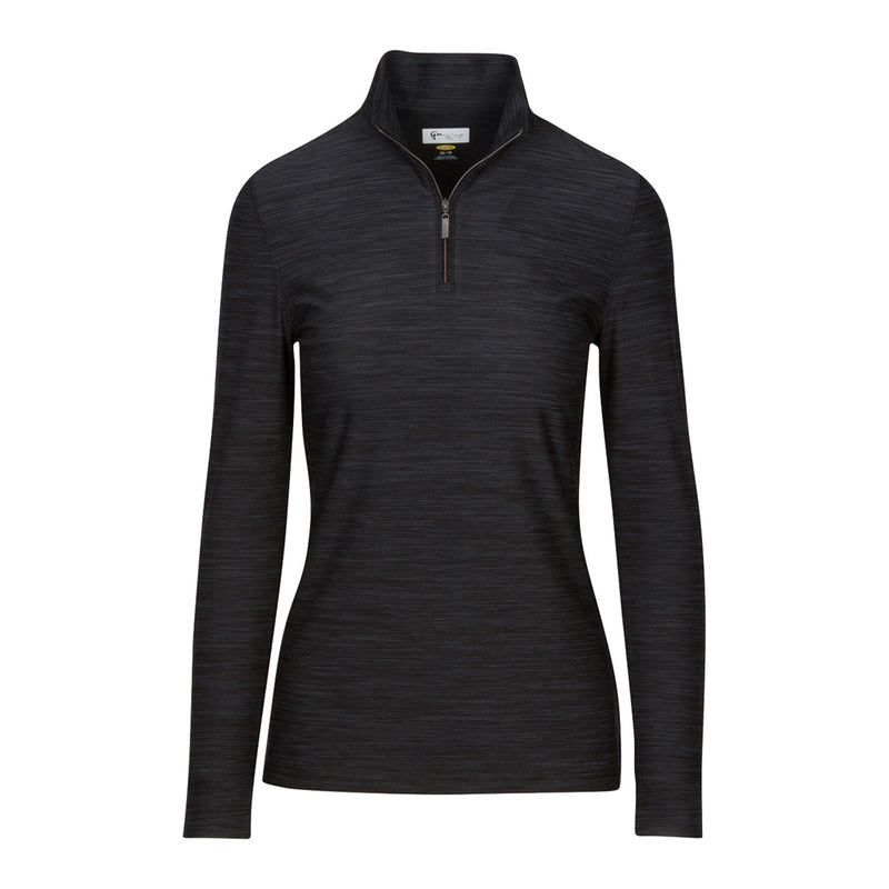 1/4 Zip Heathered Pullover Black Heather