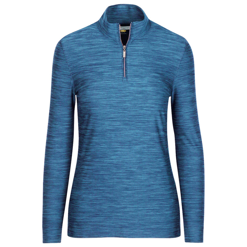1/4 Zip Heathered Pullover Atlantic Blue Heather