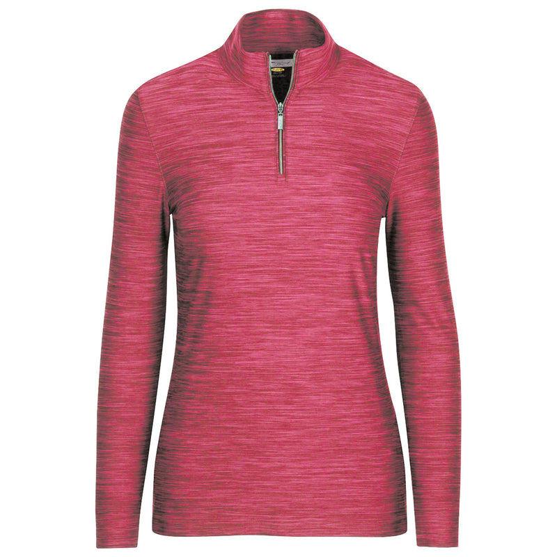1/4 Zip Heathered Pullover Coral Sunrise Heather