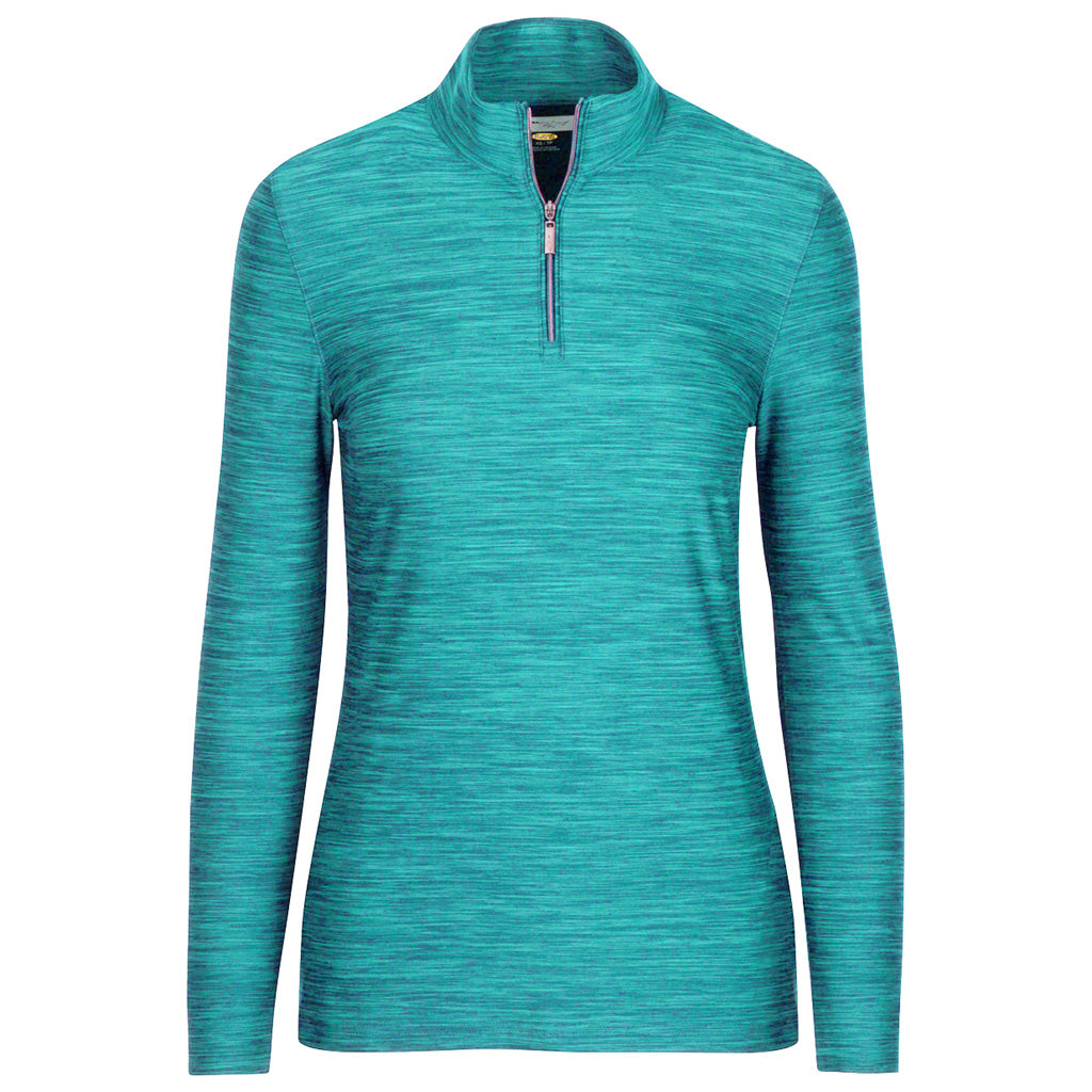 1/4 Zip Heathered Pullover Cool Mint