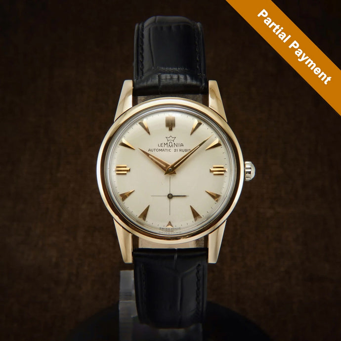 Partial Payment For Lemania 18K Rose Gold Filled Early Automatic Swiss Watch From 50s