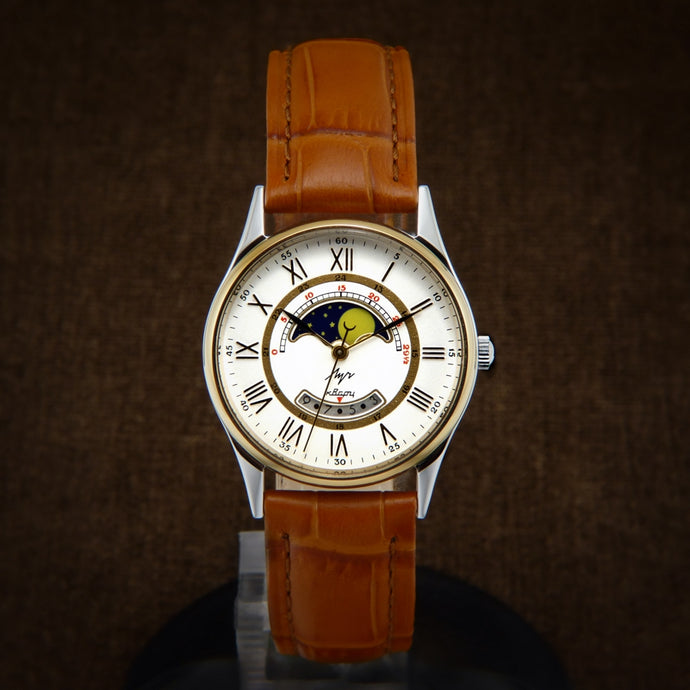 Luch NOS Soviet Ladies Watch With Date And Moon Phases Calendar