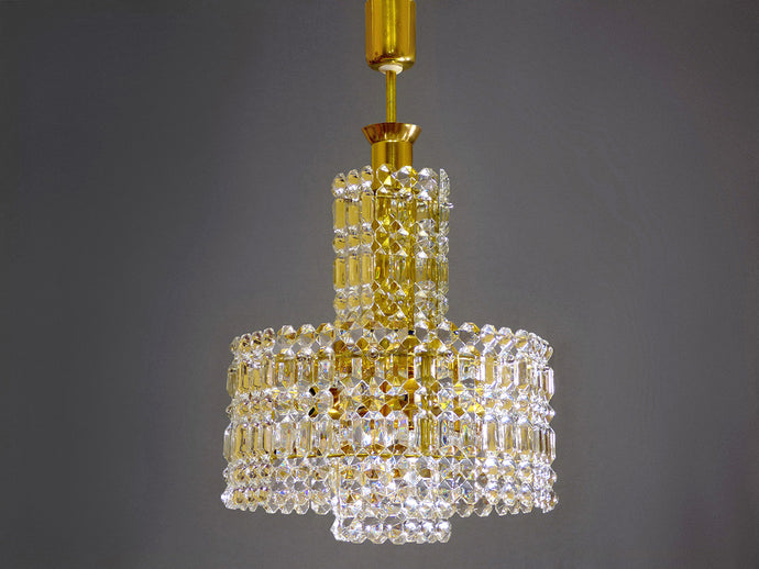 Crystal Glass Chandelier With Gold Colored Frame From 70s