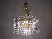 Load image into Gallery viewer, Crystal Glass Chandelier With Gold Colored Frame From 70s