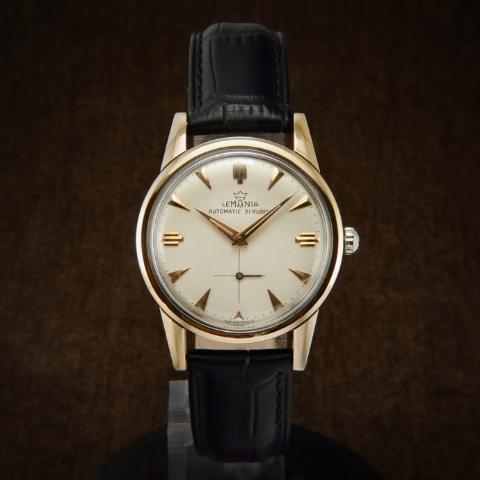Lemania 18K Rose Gold Filled Early Automatic Swiss Watch From 50s