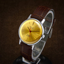 Load image into Gallery viewer, Poljot De Luxe Ultra Slim Gold Dial Soviet Mens Watch From 70s