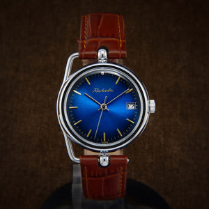 Raketa Art Deco Blue Dial Soviet Watch From 80s