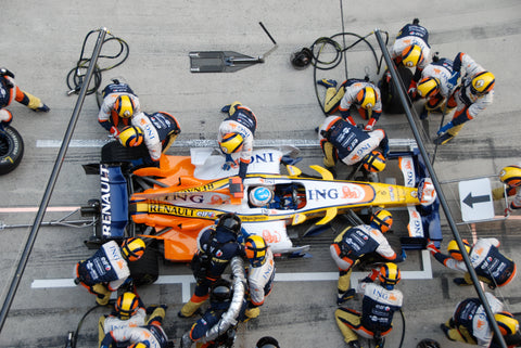 Formula One team pitstop