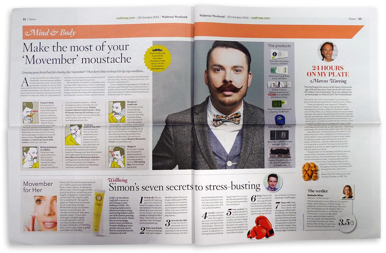 King of Shaves Shave Oil in Waitrose Weekend's feature on Movember