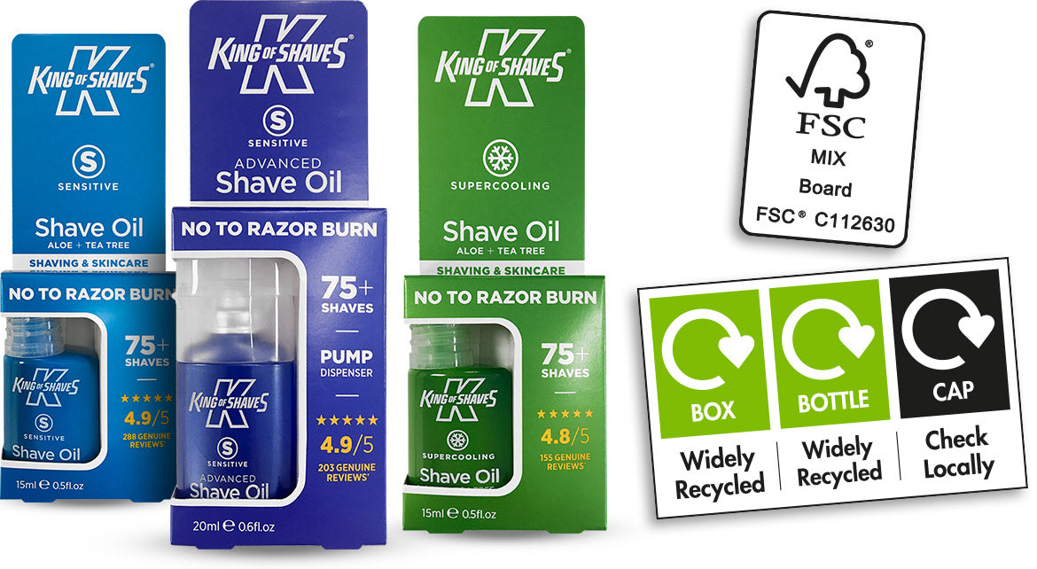 New card cartons for King of Shaves Shave Oils