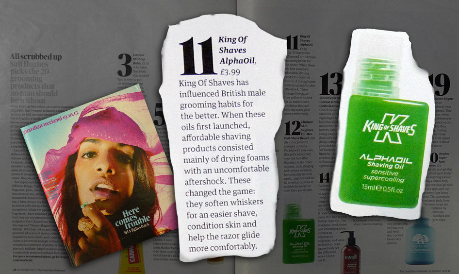 "King of Shaves Shave Oil was one of Sali Hughes ""top 25 men's grooming products""."