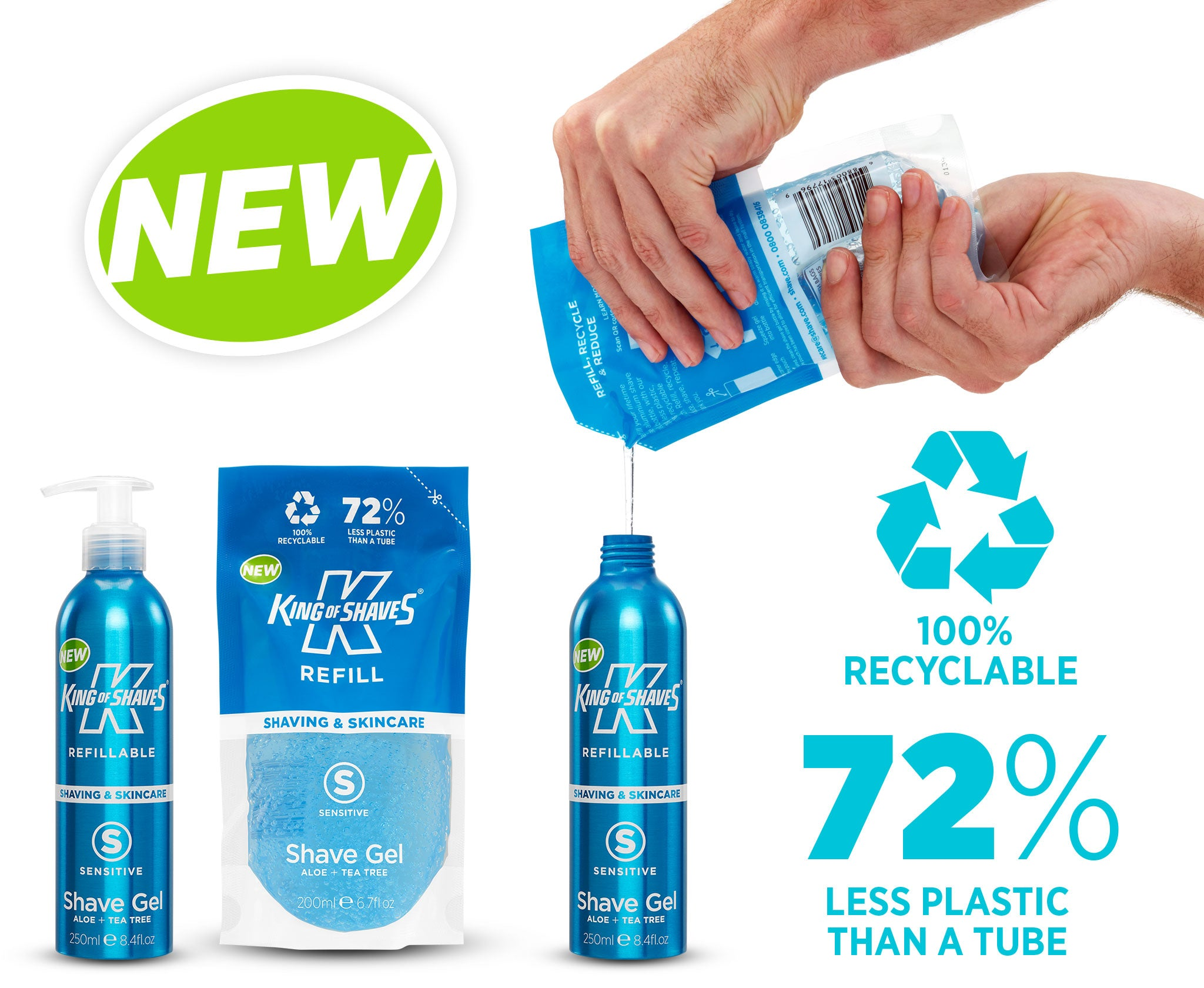 Upgrade to our refillable lifetime use Shave Gel aluminium bottle and recyclable Refill pouch