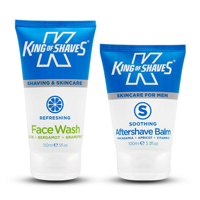 King of Shaves Refreshing Face Wash (150ml) & Soothing Aftershave Balm (100ml) Duo Set