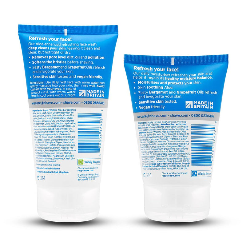 King of Shaves Refreshing Face Wash (150ml) & Refreshing Moisturiser (100ml) Duo Set