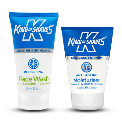 King of Shaves Refreshing Face Wash (150ml) & SPF15 Anti-Ageing Moisturiser (100ml) Duo Set