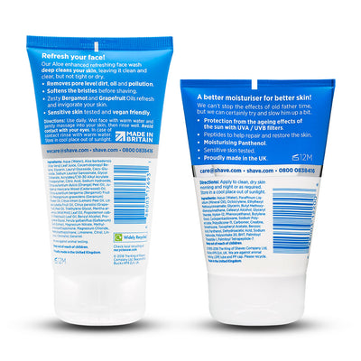King of Shaves Refreshing Face Wash (150ml) & SPF15 Anti-Ageing Moisturiser (100ml) Duo Set Backs