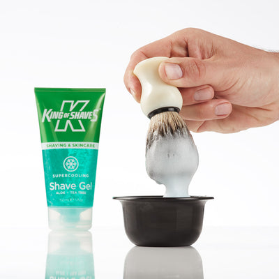 King of Shaves SuperCooling Shave Gel and badger brush
