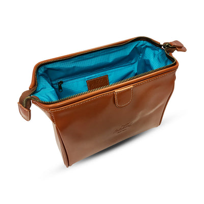 King of Shaves Toiletry Wash Bag (Tan) side open
