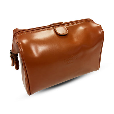 King of Shaves Toiletry Wash Bag (Tan) side closed