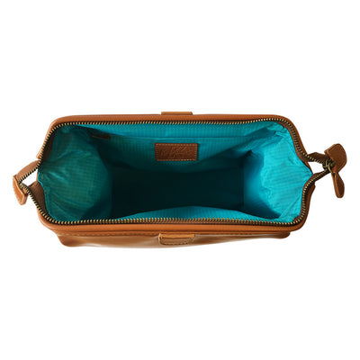 King of Shaves Toiletry Wash Bag (Tan) top open