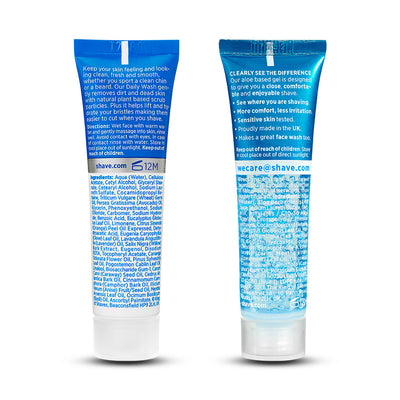 King of Shaves Sensitive Shave Gel (15ml) and Daily Face Was & Scrub (15ml) rear of tubes