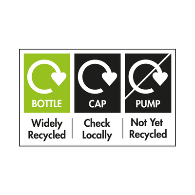 Bottle Widely Recycled, Cap Check Locally and Pump Not Yet Recycled. Please separate and recycle where possible.