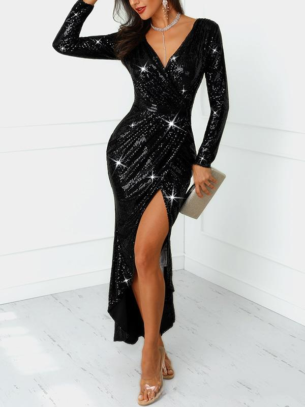 Sequined Slit Slim Long Sleeve Bodycon Dress