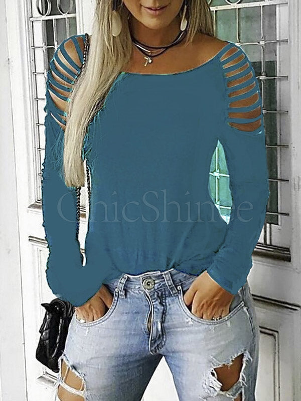 Sexy Strapless Hollow Long Sleeve T-shirt
