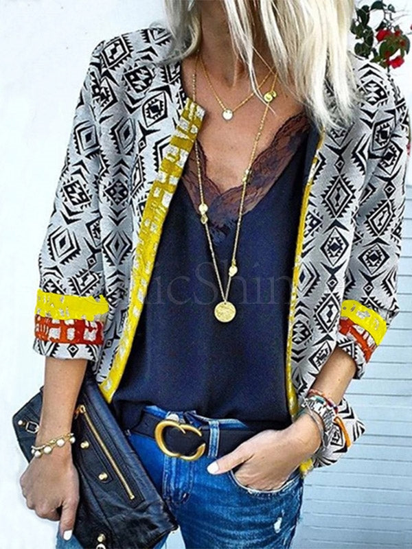 Multi-pattern Printed Cardigan Outwears