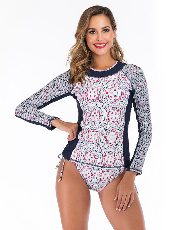 Tropical Printed Strappy Two-Piece Wetsuit