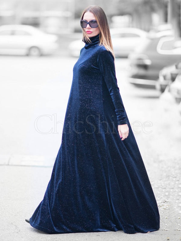 Loose Blue Starry High-Neck Long Dress