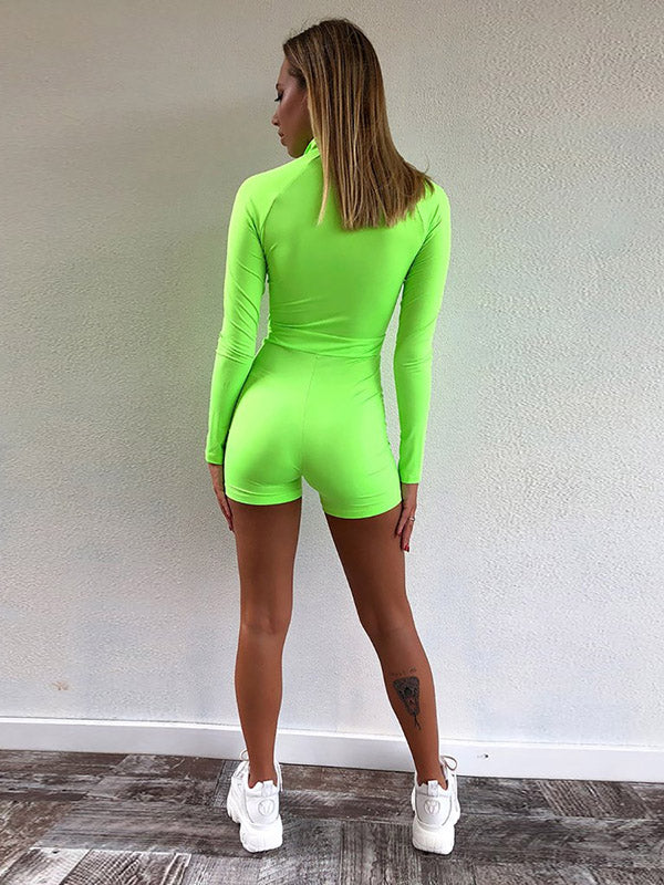 Zipper Long Sleeve Wrap Rompers