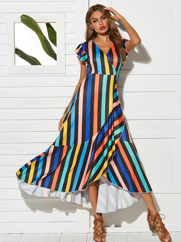 Fashion Striped Maxi Dress