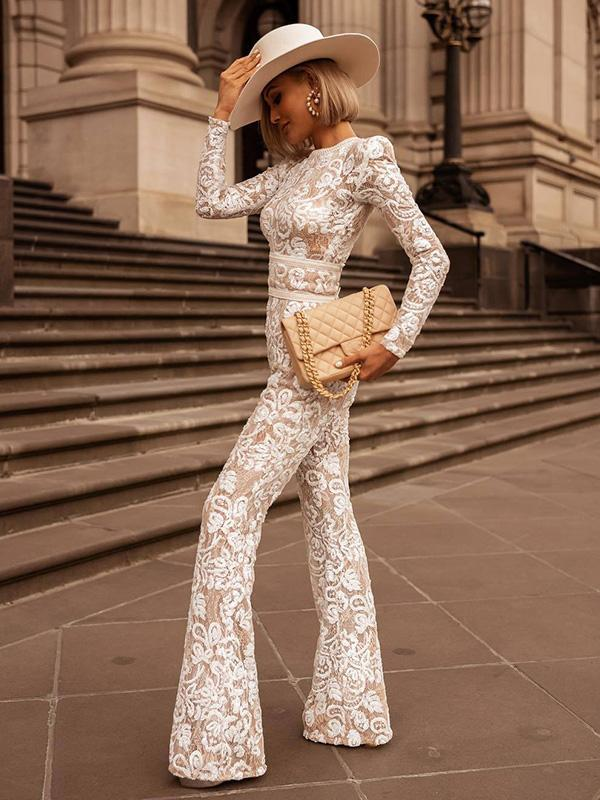 Pretty Lace Long Sleeves Jumpsuits
