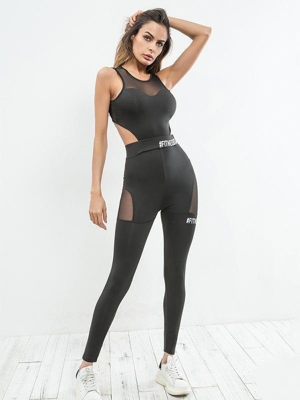 Letter Print Mesh Paneled Gym Jumpsuits