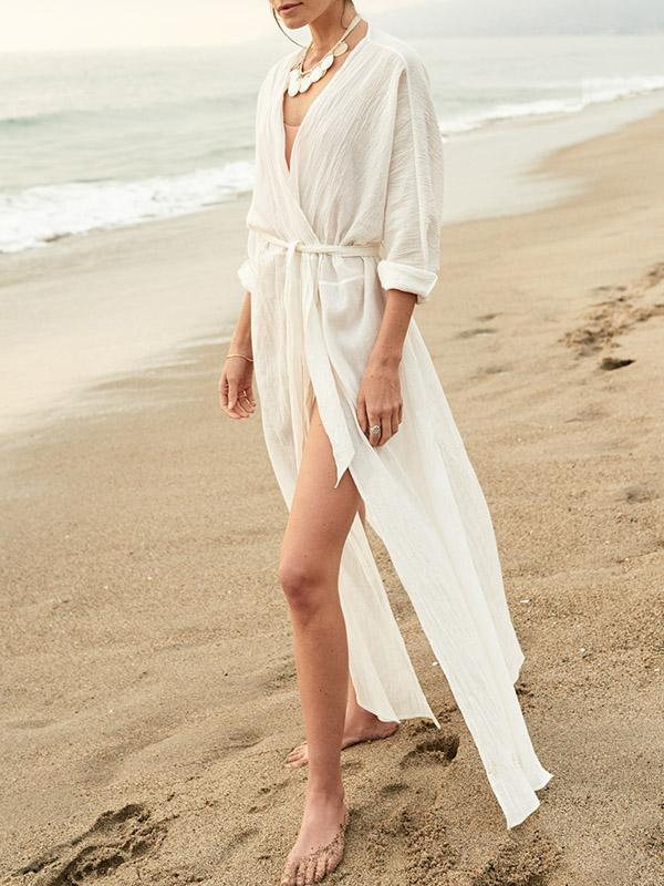 White Long Sleeves Bandage Beach Cover-Ups