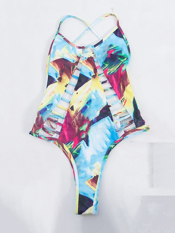 Gradient Color Print Bandge One-Piece Swimsuit