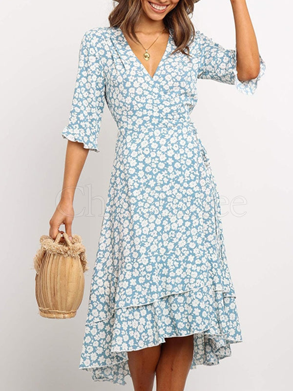 Half Sleeve Printed Midi Dress