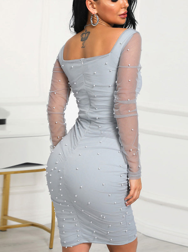 Sweet Long Sleeve Solid Color Midi Dress