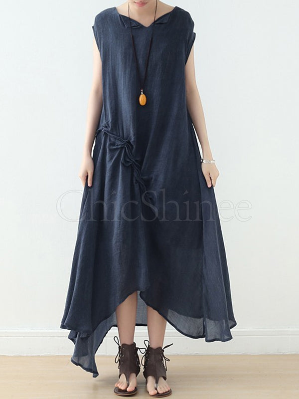 Blue Sleeveless Asymmetric Long Dress