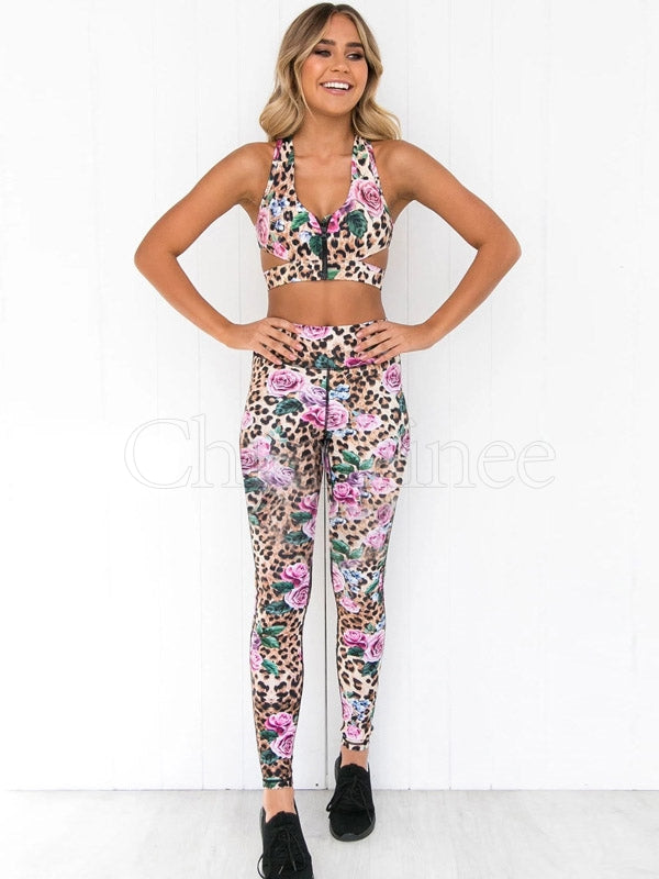 Zipper Leopard Floral Tank&Leggings Suits