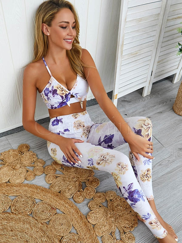 Quick-dry Floral Printed Bra&Leggings Sports Suits
