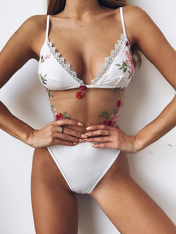 Lace Embroidered Split-joint Swimsuit