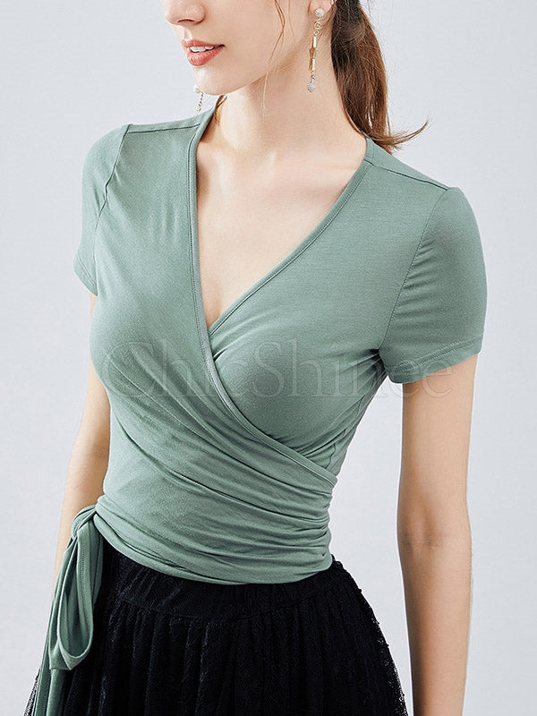 Sexy Solid V-neck Short Sleeve T-shirts Tops