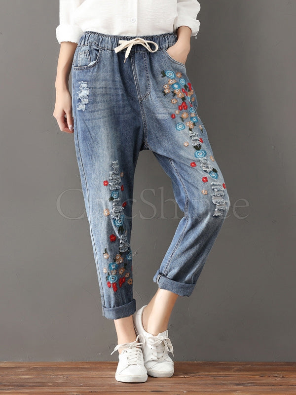 Casual Embroidered Jean Pants